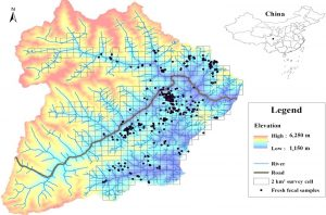 Map of Wolong Nature Reserve where fecal samples were collected